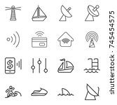 thin line icon set   lighthouse ... | Shutterstock .eps vector #745454575