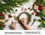 christmas handmade diy... | Shutterstock . vector #745455472