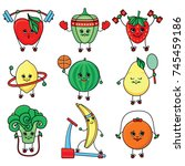 vectorsketch characters doing... | Shutterstock .eps vector #745459186