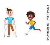 vector flat disabled people set....   Shutterstock .eps vector #745459315