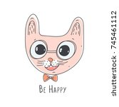 cute pink cat head. line art.... | Shutterstock .eps vector #745461112