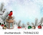 christmas greeting card with... | Shutterstock . vector #745462132