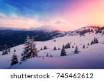 fantastic orange winter... | Shutterstock . vector #745462612