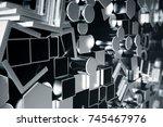 cylindrical metal steel... | Shutterstock . vector #745467976