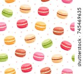colorful macarons seamless... | Shutterstock .eps vector #745469635