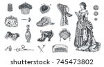 antique dressed ladie.set of... | Shutterstock .eps vector #745473802
