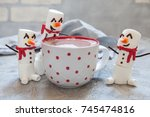 red mug with hot chocolate with ... | Shutterstock . vector #745474816