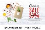 xmas sale promo web banner. top ... | Shutterstock .eps vector #745479268