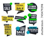 cyber monday sale banner set.... | Shutterstock . vector #745479298