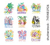 exotic summer vacation colorful ... | Shutterstock .eps vector #745481926