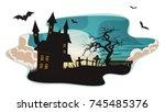 halloween background ... | Shutterstock .eps vector #745485376