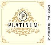vintage luxury monogram logo... | Shutterstock .eps vector #745486606