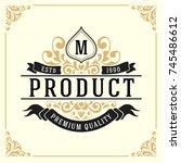vintage luxury monogram logo... | Shutterstock .eps vector #745486612