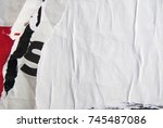 empty white weathered creased... | Shutterstock . vector #745487086