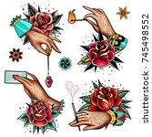 set of four oldschool tattoo... | Shutterstock .eps vector #745498552