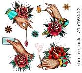 set of four oldschool tattoo... | Shutterstock .eps vector #745498552