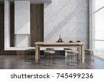 modern dining room interior... | Shutterstock . vector #745499236