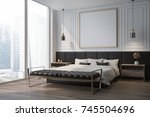 white bedroom corner with a... | Shutterstock . vector #745504696