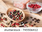 Mix Of Peppercorns In Wooden...