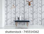 brown paper deer head hanging... | Shutterstock . vector #745514362