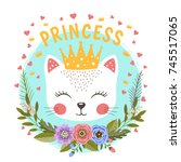 Stock vector little princess with flowers cute cat girl with crown vector illustration for print 745517065