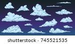 cartoon clouds on night sky in... | Shutterstock .eps vector #745521535