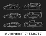 set of vector car silhouettes.... | Shutterstock .eps vector #745526752