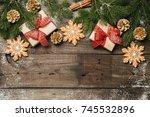 cozy winter holidays christmas... | Shutterstock . vector #745532896