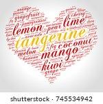tangerine. word cloud in shape... | Shutterstock .eps vector #745534942