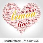 lemon. word cloud in shape of... | Shutterstock .eps vector #745534966