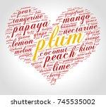 plum. word cloud in shape of... | Shutterstock .eps vector #745535002