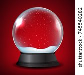 winter snow globe with red... | Shutterstock .eps vector #745540282