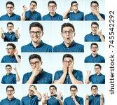 set of young man's portraits... | Shutterstock . vector #745542292