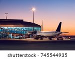 preparation of the airplane... | Shutterstock . vector #745544935