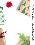 christmas presents background | Shutterstock . vector #745546612