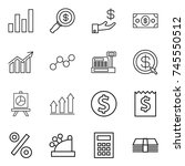 thin line icon set   graph ... | Shutterstock .eps vector #745550512