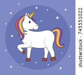 unicorn illustration on purple... | Shutterstock .eps vector #745551022