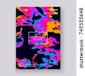 neon marble texture explosion... | Shutterstock .eps vector #745555648