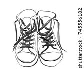 boots ink sketch. shoes... | Shutterstock . vector #745556182