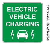electric vehicle charging point ...   Shutterstock .eps vector #745556662