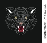 stylized head of a tiger. the... | Shutterstock . vector #745562266