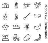 thin line icon set   greenhouse ...   Shutterstock .eps vector #745573042