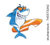 smiling shark surfer cartoon...