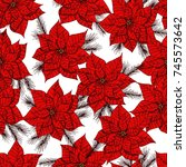 poinsettia and fir branches... | Shutterstock .eps vector #745573642