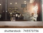 stone table top and blurred... | Shutterstock . vector #745573756