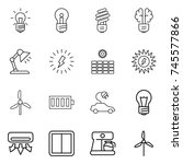 thin line icon set   bulb ... | Shutterstock .eps vector #745577866