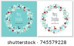 greeting card with a festive... | Shutterstock .eps vector #745579228