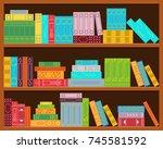 bookshelf. set of stacks of... | Shutterstock .eps vector #745581592