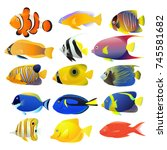 sea fish collection isolated on ... | Shutterstock .eps vector #745581682