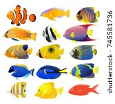 sea fish collection isolated on ... | Shutterstock . vector #745581736